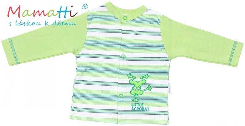 Bavlněná košilka Mamatti - FROG- zelená/zelené proužky, Velikost: 74 (6-9m)