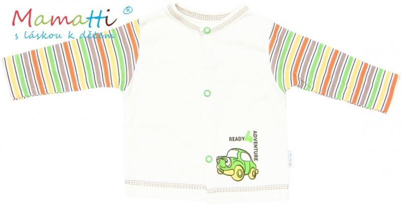 Bavlněná košilka Mamatti - CAR- krémová/barevné proužky, Velikost: 74 (6-9m)