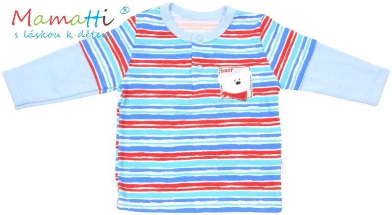 Polo tričko dlouhý rukáv Mamatti - ZEBRA  - sv. modré/barevné pružky, Velikost: 80 (9-12m)