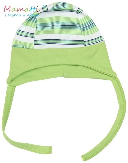 Čepička na zavazování Mamatti  - FROG - zelené proužky