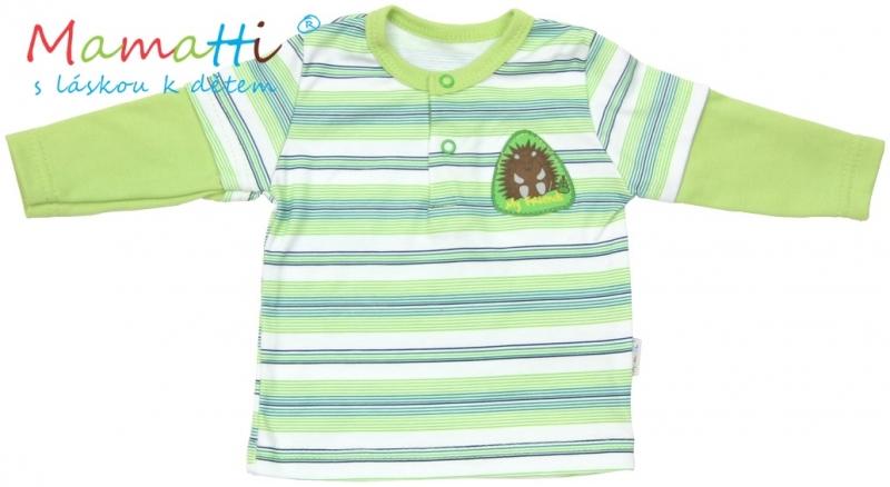 Polo tričko dlouhý rukáv Mamatti - FROG - zelené/proužky, Velikost: 74 (6-9m)