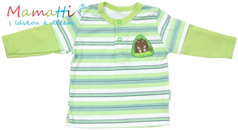 Polo tričko dlouhý rukáv Mamatti - FROG - zelené/proužky, Velikost: 80 (9-12m)