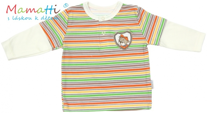 Polo tričko dlouhý rukáv Mamatti - CAR- krémové/barevné proužky, Velikost: 86 (12-18m)