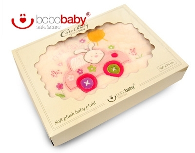 Dětská deka BOBOBABY - Králíček v autě - krémová/růžová (rozměr: 100x75cm, K.: P-BOX2)