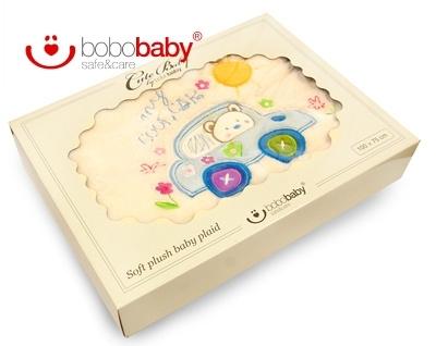 Dětská deka BOBOBABY - Medvídek v autě - krémová/modrá