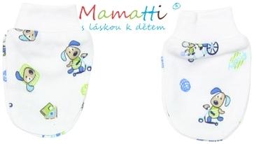 Kojenecké rukavičky Mamatti - DOG - bílé/potisk pejsek