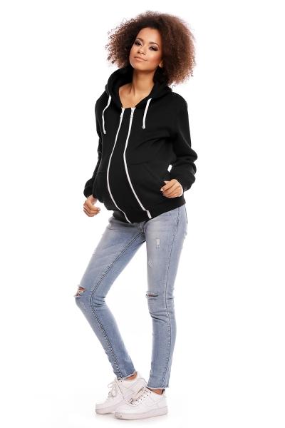 Be MaaMaa Těhotenská mikina VANDA s kapucí - černá