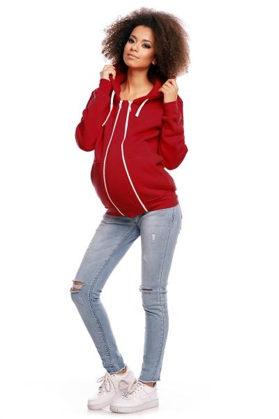 Be MaaMaa Těhotenská mikina VANDA s kapucí - červená