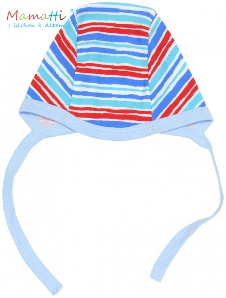 Čepička Mamatti - ZEBRA - sv. modrá/barevné proužky, Velikost: 62 (2-3m)