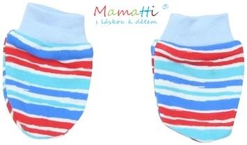 Kojenecké rukavičky Mamatti - ZEBRA - sv. modré/barevné proužky