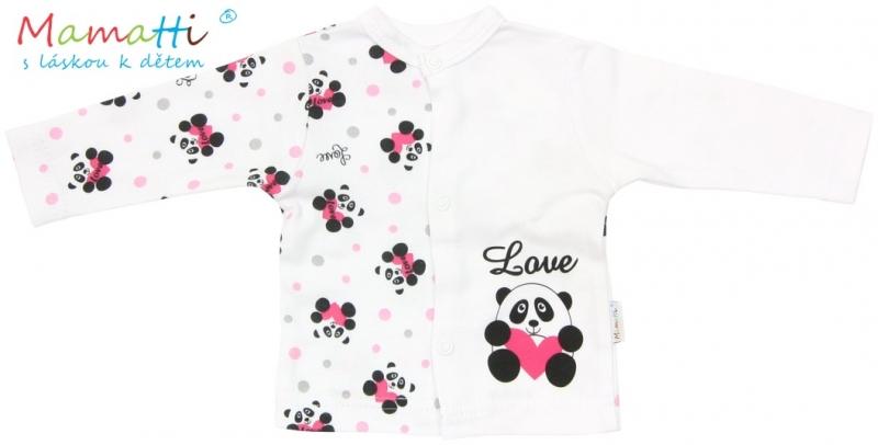 Bavlněná košilka Mamatti - PANDA - bílá/potisk panda