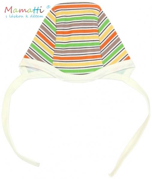 Čepička Mamatti - CAR- barevné proužky, Velikost: 62 (2-3m)
