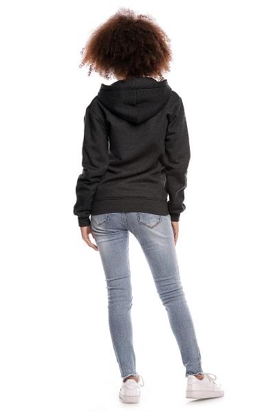 Be MaaMaa Těhotenská mikina VANDA s kapucí - tmavě šedá