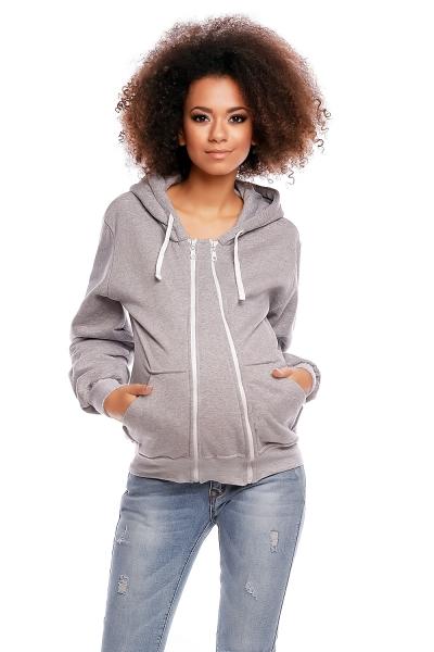 Be MaaMaa Těhotenská mikina VANDA s kapucí - světle šedá