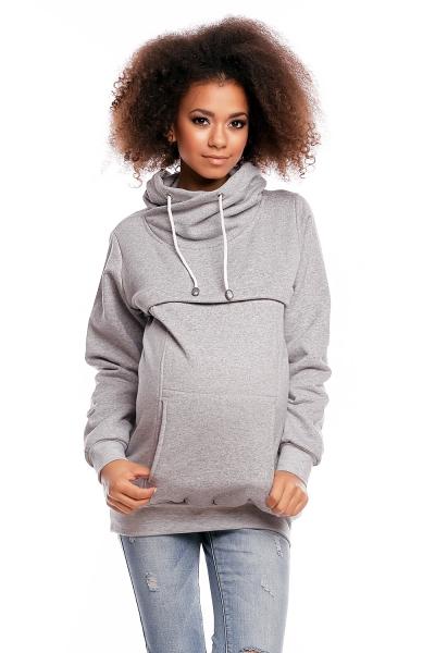 Be MaaMaa Těhotenská mikina s roláčkem DORA - světle šedável. XL (42)