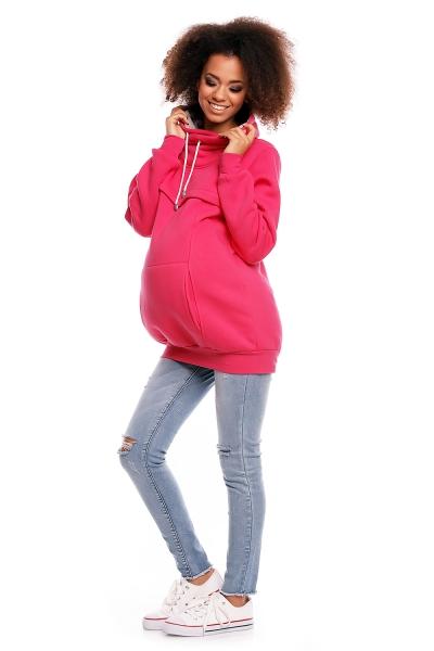 Těhotenská mikina s roláčkem DORA - růžová