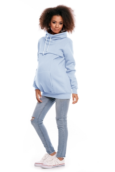 Be MaaMaa Těhotenská mikina s roláčkem DORA - světle modrável. M (38)