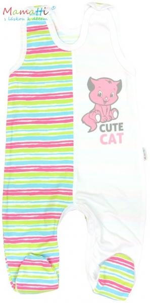 Dupačky Mamatti - CAT - bílé/barevné proužky