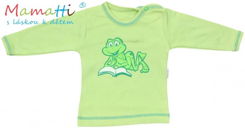 Tričko/košilka dlouhý rukáv Mamatti - FROG - zelené, Velikost: 80 (9-12m)