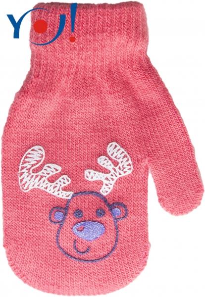Kojenecké dívčí akrylové  rukavičky YO - lososově/červená