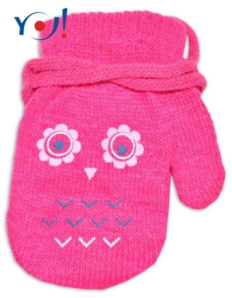 Kojenecké dívčí akrylové rukavičky YO - tm. růžové