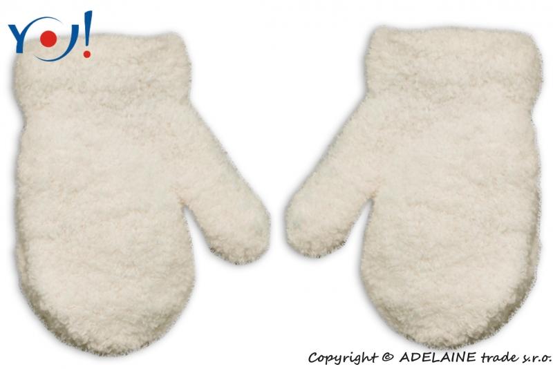 Zimní kojenecké dívčí froté rukavičky YO - smetanové