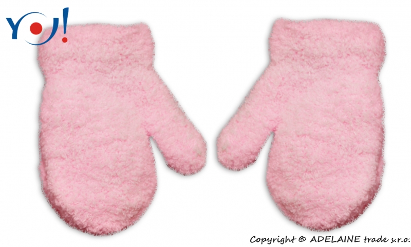 YO !  Zimní kojenecké dívčí froté rukavičky YO - sv. růžové