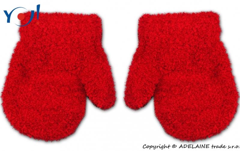 Zimní kojenecké dívčí froté rukavičky YO - červené