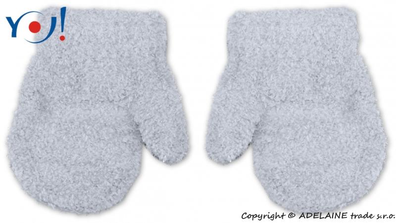 Zimní kojenecké chlapecké froté rukavičky YO - sv. šedé