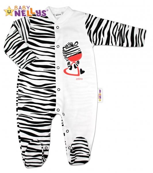 Bavlněný overálek ZEBRA Baby Nellys ®, Velikost: 80 (9-12m)