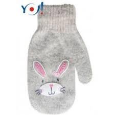 Kojenecké dívčí akrylové  rukavičky YO - šedé