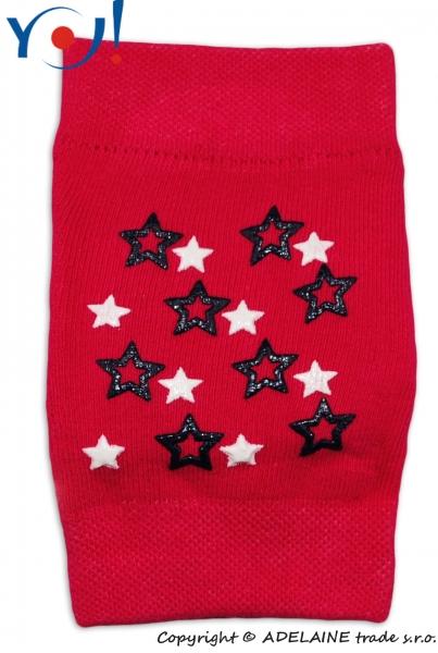Dívčí nákoleníky s ABS YO - malinová/tm.růžové - hvězdičky