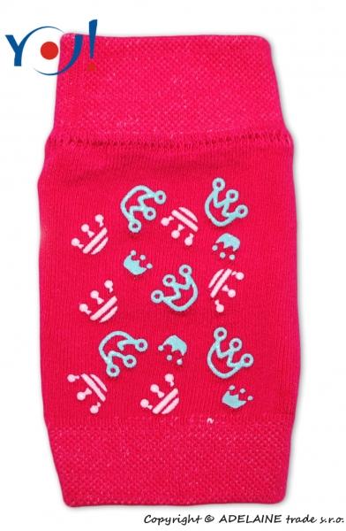 Dívčí nákoleníky s ABS YO - tm. růžové - korunky
