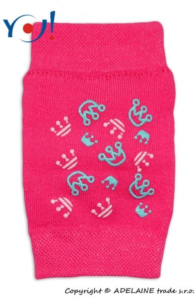 Dívčí nákoleníky s ABS YO - růžové - korunky - vel. UNI, cca výška x šířka (bez natažení) - 14x8cm