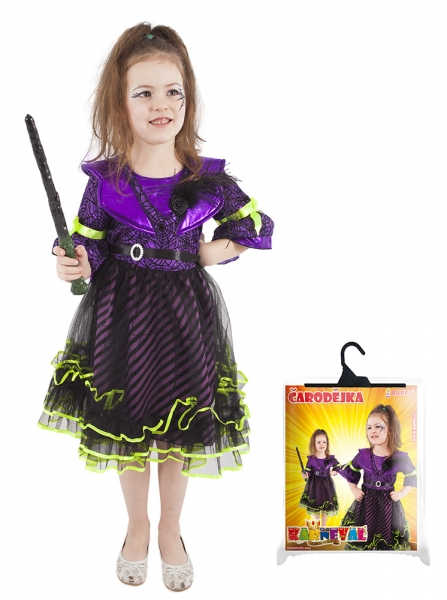Dětský kostým čarodějnice/Halloween fialový (M)