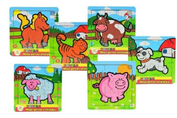 Mini puzzle dřevěné 9 dílků Moje první zvířátka pro nejmenší 15x15x0,8cm asst 6 druhů