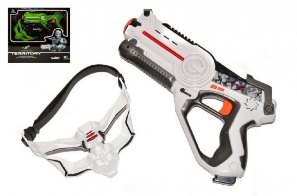 Territory laser game single set (1 pistole, 1 maska) plast na baterie asst 2 barvy v