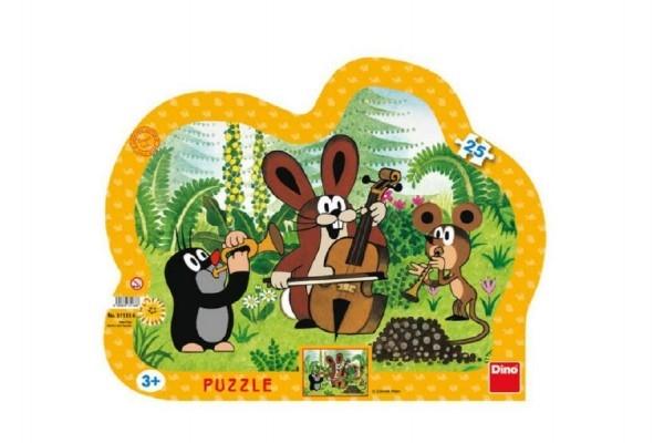 Puzzle deskové Krtek muzikant kontura 35x28cm 25 dílků