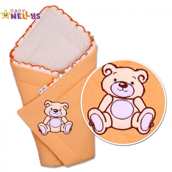 Baby Nellys Zavinovačka Teddy Bear - jersey - losos/meruňka