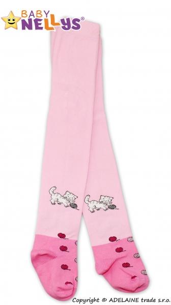 Bavlněné punčocháče Baby Nellys ® - Koťátko sv. růžové s klubíčkem