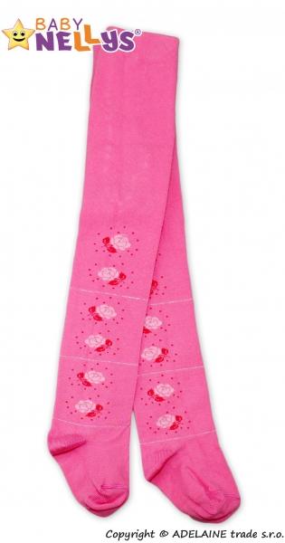 Bavlněné punčocháče Baby Nellys ® - Růžička růžové