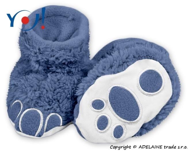 Botičky/ponožtičky YO ! MEDVÍDEK - tmavě modrá, Velikost: 74 (6-9m)