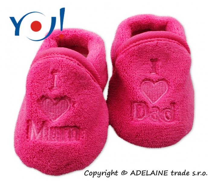 Botičky/ponožtičky YO ! I LOVE - tmavě růžová, vel. 6-12m, Velikost: 74 (6-9m)