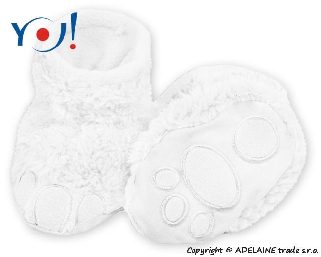 Botičky/ponožtičky YO ! MEDVÍDEK - bílé, Velikost: 56 (1-2m)
