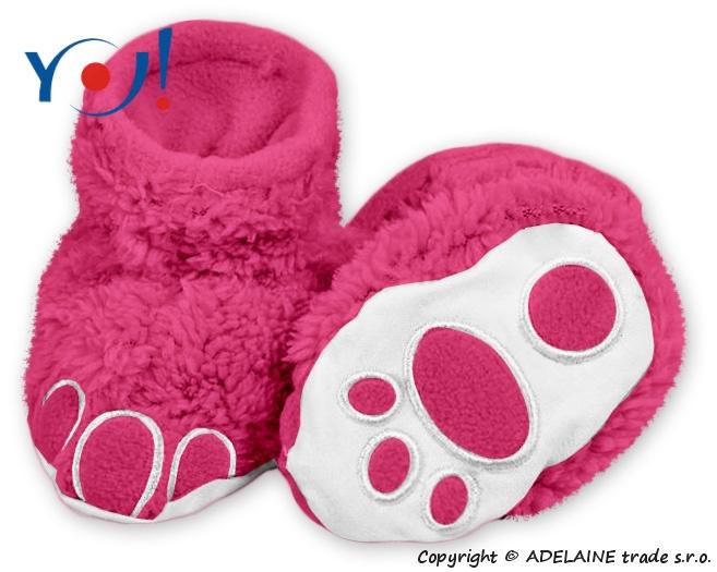 Botičky/ponožtičky YO ! MEDVÍDEK - malinové, Velikost: 74 (6-9m)