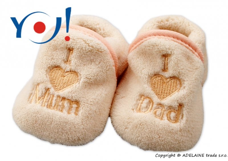 Botičky/ponožtičky YO ! I LOVE, vel. 6 - 12m - sv. béžové, Velikost: 74 (6-9m)