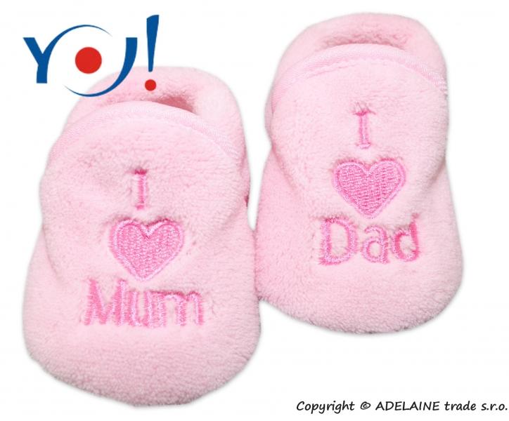 Botičky/ponožtičky YO ! I LOVE - sv. růžové, Velikost: 56 (1-2m)