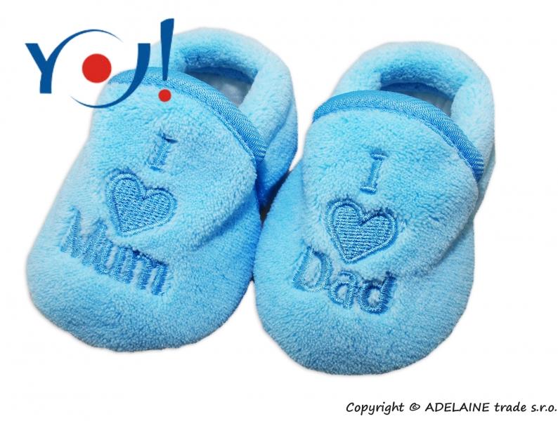 Botičky/ponožtičky YO ! I LOVE - sv. modré, Velikost: 56 (1-2m)