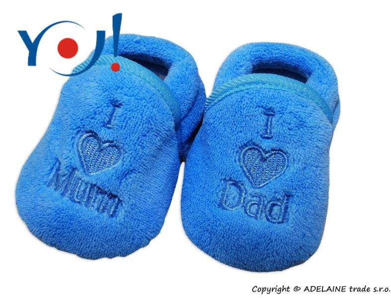 Botičky/ponožtičky YO ! I LOVE - modré, Velikost: 56 (1-2m)
