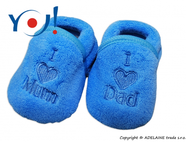 Botičky/ponožtičky YO ! I LOVE - modré, Velikost: 74 (6-9m)